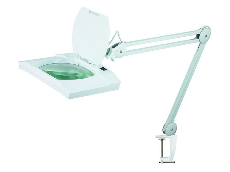 Stolní lupa obdélníková se svorkou a zvětšením 5 dioptrií s osvětlením 108x LED 8069D